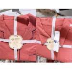 GU 棉麻睡衣套装 橘红色 两种领子...