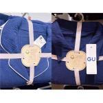 GU 棉麻睡衣套装 宝蓝色 两种领子...